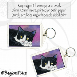 Tuxedo Cat Keyring SNUG Feline Animal