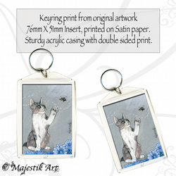 Cat Keyring BEE STILL Pet Animal Insect Flowers