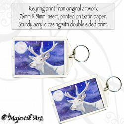 Fantasy White Stag Keyring PURE Animal Deer