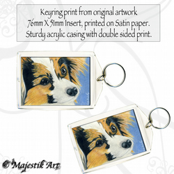 Papillon Keyring WHO ME? Dog Animal