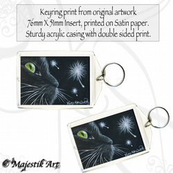 Black Cat Keyring CURIOSITY Feline Pet Animal