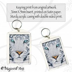 White Tiger Keyring OPAQUE Feline Wildlife