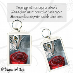Tabby Cat Keyring ROSE Pet Animal Flower