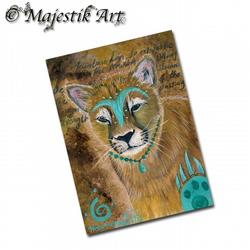 ACEO Print Native American Mountain Lion Art WARRIOR