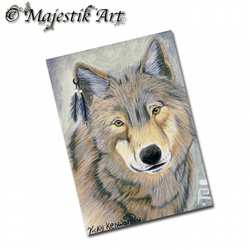 ACEO Print Native American Wolf Art WYANET