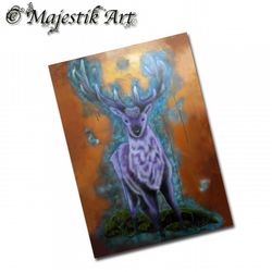 ACEO Print Fantasy Deer PURPLE HAZE