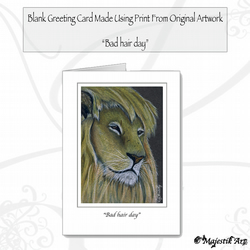 Greeting Card BAD HAIR DAY Lion