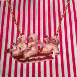 Vintage Children on a Sleigh Necklace