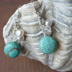 Turquoise, Freshwater Pearl and Crystal Earrings