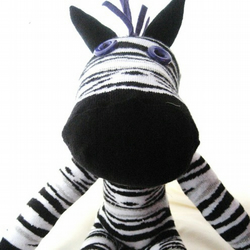 **  Debra the Zebra  ** sock zebra by lonely hearts