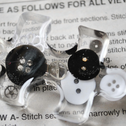 Button black and white quirky resin jigsaw brooch