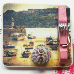 Brooch St Ives fishing boats beach printed plastic brooch