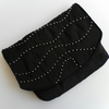 Beautiful Black Satin Clutch Bag with Silver Beading, Party, Evening,