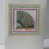 Hand sewn card, open fan, green, pink roses, Valentine's Card