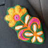 Large Embroidered Flower Brooch