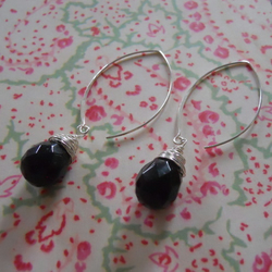 ♥ Black Onyx drop faceted earrings