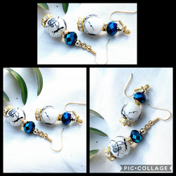 Black and White Painted Glass Bead Earrings Gold Plated Ear Wires
