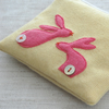 Handmade Bunnies Coin Purse - Yellow and Pink