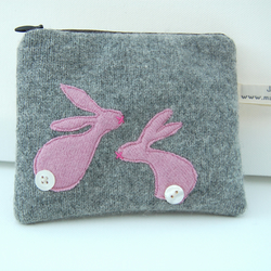 Handmade Bunnies Coin Purse - grey and pink