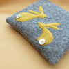Handmade Bunnies Coin Purse - grey and yellow