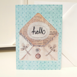 Hello Greeting Card - Anytime Card - Textile Art Card - Friendship Card