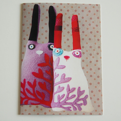 Textile-art Rabbit Couple Greeting Card