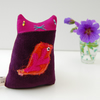 Small Purple Velvet Textile art KITTEN Soft sculpture called ITSY