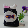 Small Textile art KITTEN Soft sculpture with Polka dots called Teenie