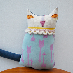 Textile Art CAT Doll Soft Sculpture Called Fletch