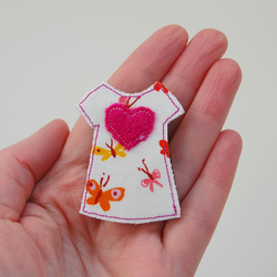 Handmade Dress Brooch with Pink Wool Heart - Butterfly fabric