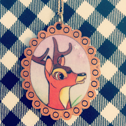Vintage Bambi book necklace with copper frame - one of a kind!