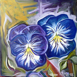 Pansies Oil Painting on Canvas