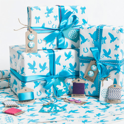 Recycled Love Birds Aqua Gift Wrap