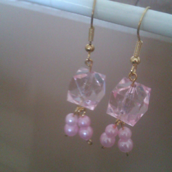 Pink earrings with faux pearls