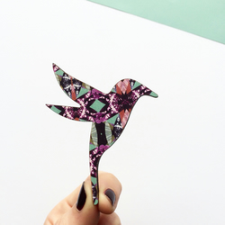 Hummingbird Wooden Brooch - Bird Brooch, Bird Pin