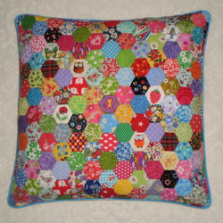 Patchwork Cushion Cover -  Hexagons in Bright Retro Cotton Fabrics