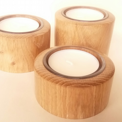 Christmas Candle Set in Oak