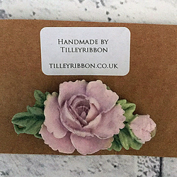 Pastel Pink Rose, Bud and Foliage  Brooch