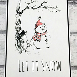 Handmade Screen Printed Christmas Card 5x7 - Let it Snow