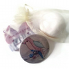 Beauty gift set including a bird compact mirror, lavender soap bar & bath bomb