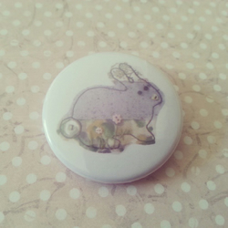 set of 1 38mm pin backed badge with my Easter bunny rabbit brooch