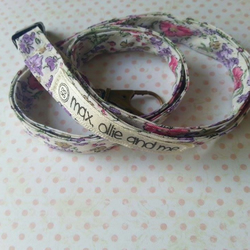 lanyard handmade out of quality pink and purple floral cotton with safety clip
