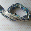 lanyard handmade out of quality blue and purple floral cotton with safety clip