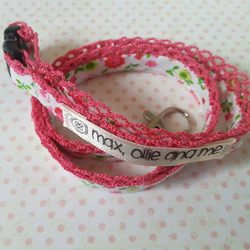 lanyard handmade out of quality white and pink floral cotton and lace work