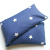 warming extra large lavender wheat bag in cotton blue and white star fabric