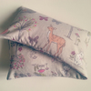 warming extra large LAVENDER wheat bag in cotton woodland animal fabric