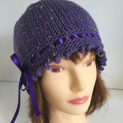 Womens Winter Hat, Vintage Style Ribbon Laced Beanie Hat