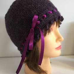 Purple 1920s Style Hat, Vintage Look Beanie, Winter Hat, Ribbon Laced Hat,