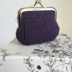Purple Hand Knit  Metal Coin Purse with Kiss Lock Frame for Mothers Day
