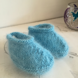 Angora Booties Light Blue Soft Baby Shoes 0 - 3 Months Baby Knitted Booties